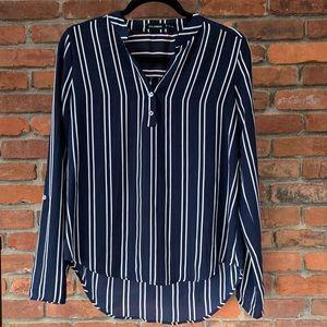 Striped Chiffon Dress Shirt, Navy and White